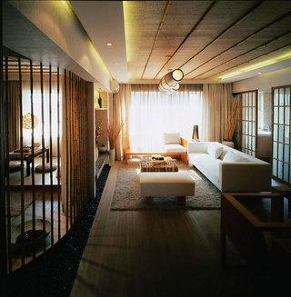 新中式风格二居室小清新70平米设计图