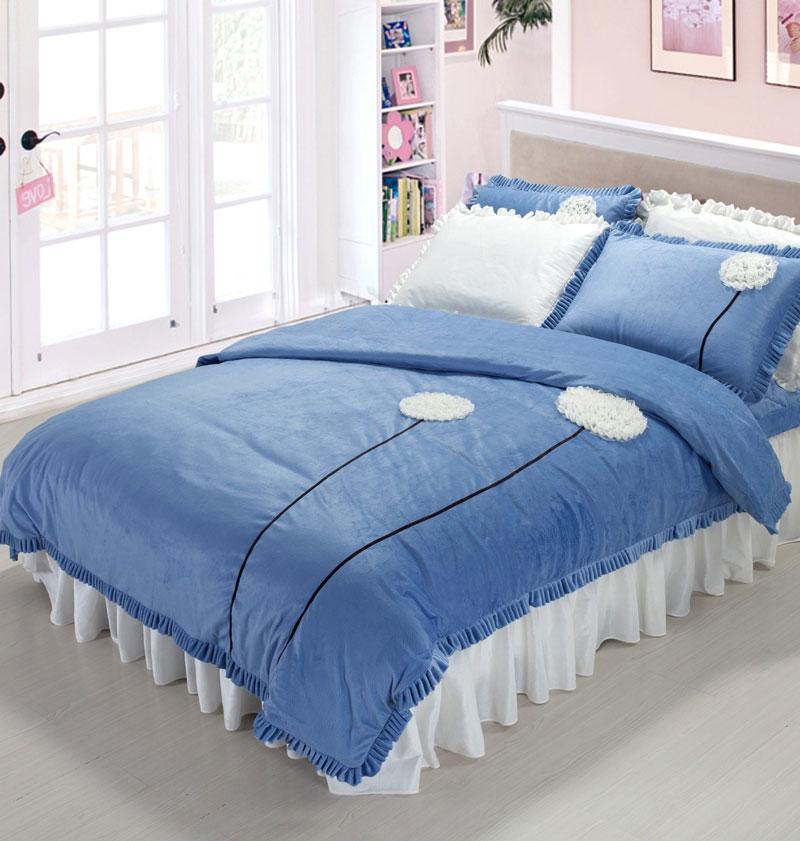 可爱花边海洋风蓝色床品