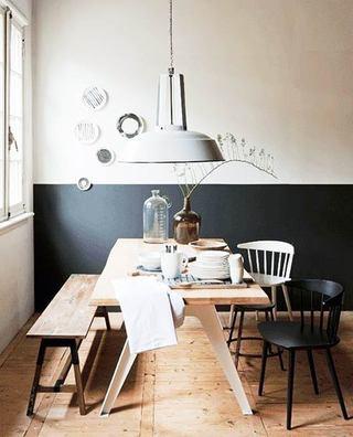 深蓝色+米色餐厅墙面