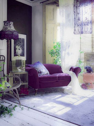 梦幻紫色客厅设计