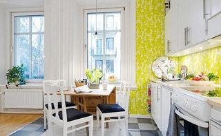 嫩黄色清新厨房壁纸