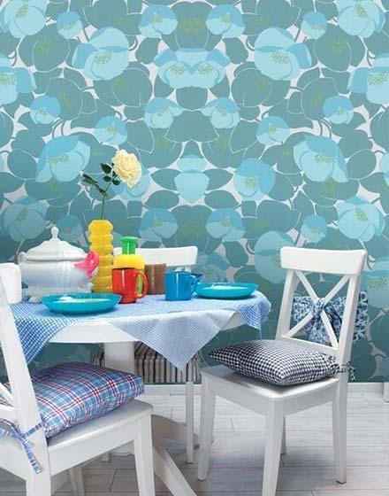 蓝色餐厅壁纸效果图