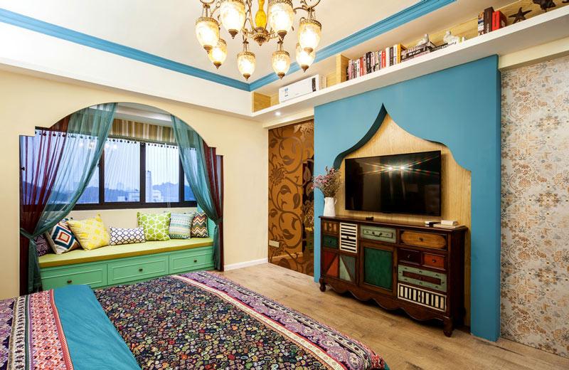 个性异域风卧室电视背景墙设计