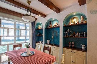 地中海风情 海蓝色餐厅背景墙设计
