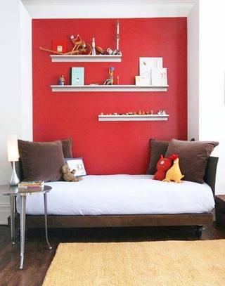 小客厅红色背景墙装修图