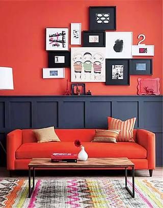 红色沙发背景墙装饰实景图