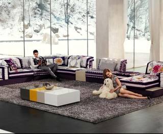 紫色布艺沙发图片