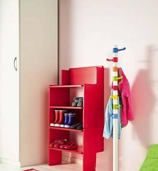 红色系鞋柜效果图