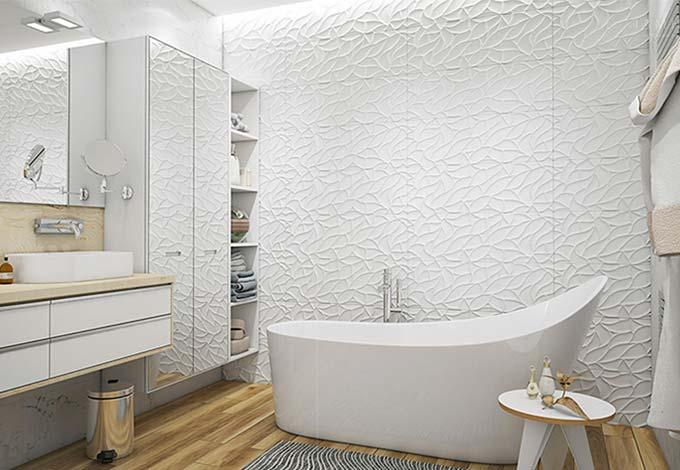 北欧风卫生间 艺术漆背景墙设计