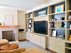 给电视当绿叶   10个客厅电视柜布置图片