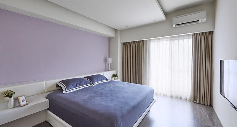 浪漫浅紫色简约风卧室设计图
