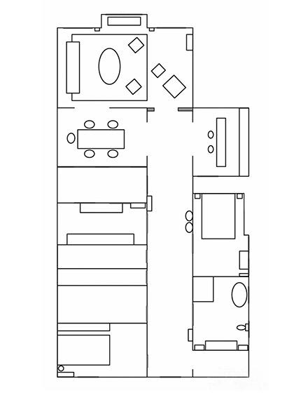 113平混搭风格两室两厅平面图
