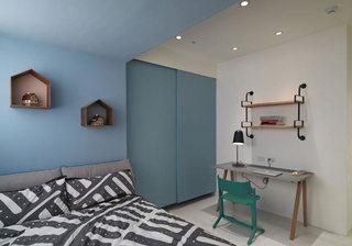 天蓝色简约北欧风儿童房设计