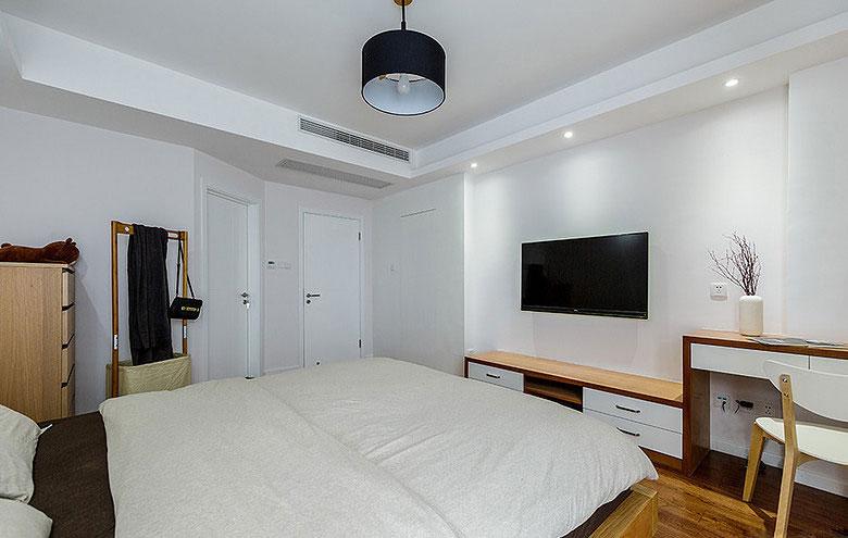 简约风格白色卧室电视背景墙装修效果图