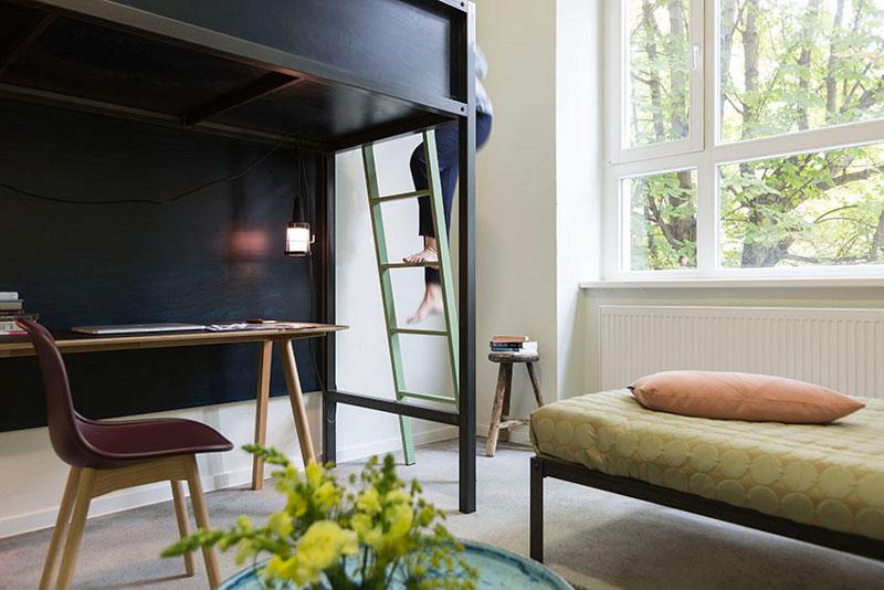 现代简约学生宿舍卧室书房一体装修