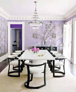 紫色系风格餐厅装修图