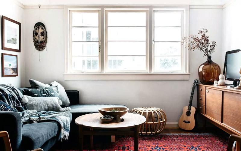 复古混搭风 小客厅窗户效果图