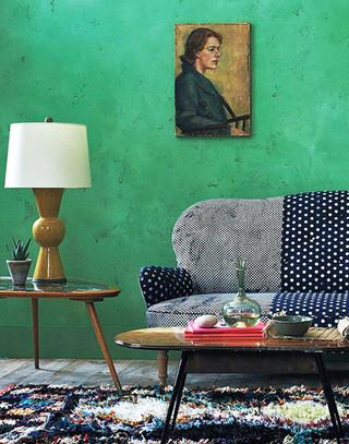 绿色客厅沙发背景墙装修