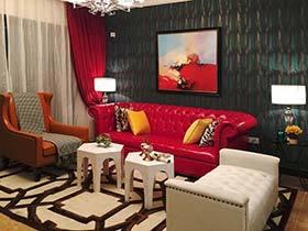 90㎡红色系公寓设计装修图  Party女王的新家
