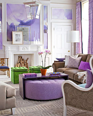 优雅紫色客厅装潢设计