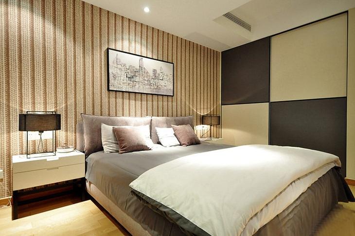 时尚简约风卧室背景墙效果图