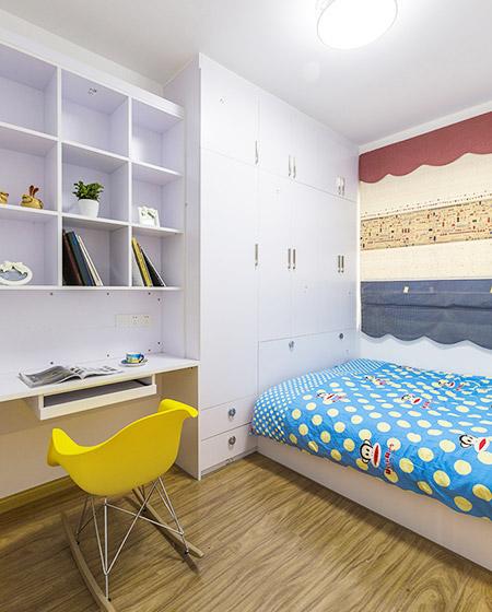 清新简约风儿童房整体衣柜设计