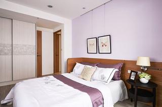 浪漫浅紫色宜家风 卧室背景墙设计