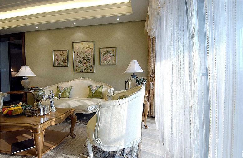 浪漫美式客厅窗帘装饰图