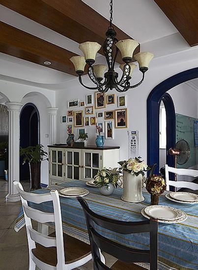 150平地中海风格装修餐厅吊顶装修