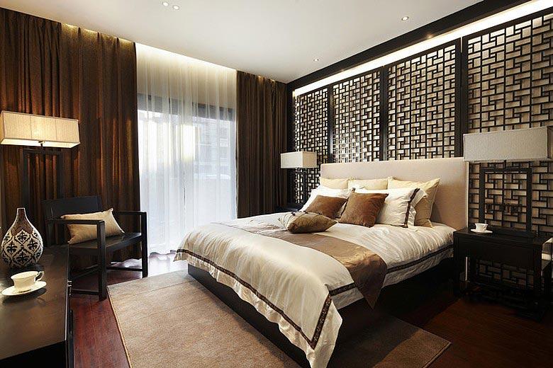 古典中式卧室 雕花背景墙设计