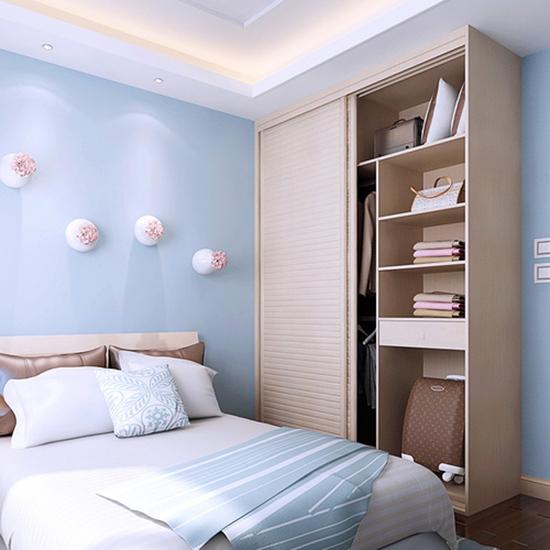 清新天蓝色简约风卧室效果图