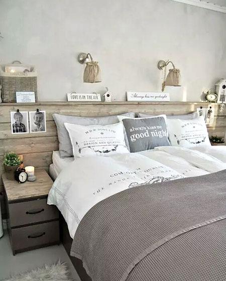 卧室木制床头收纳设计