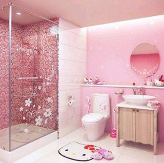 粉色系卫生间设计实景图
