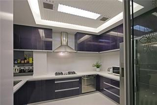 现代风厨房紫色橱柜设计