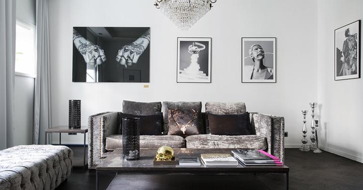 黑白复古北欧风 客厅照片墙效果图