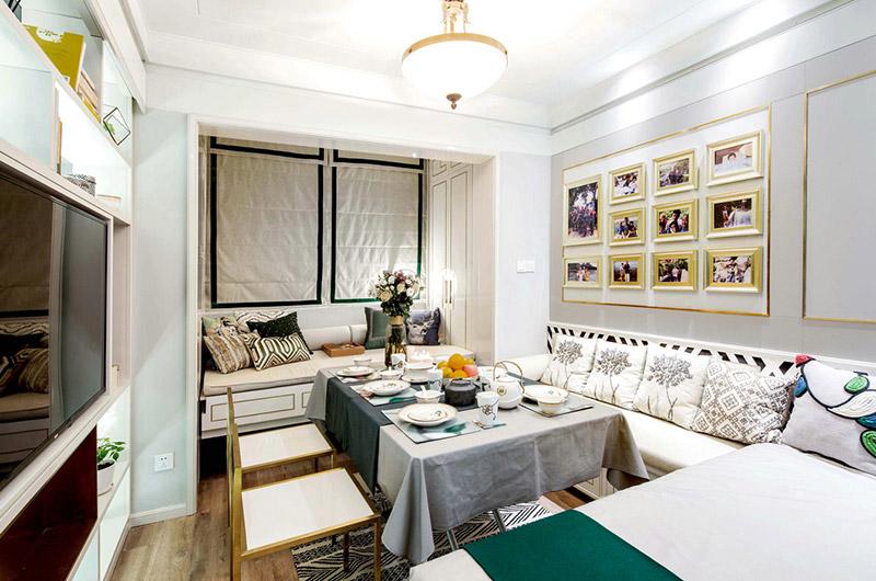 38平旧房改造客厅餐厅一体设计