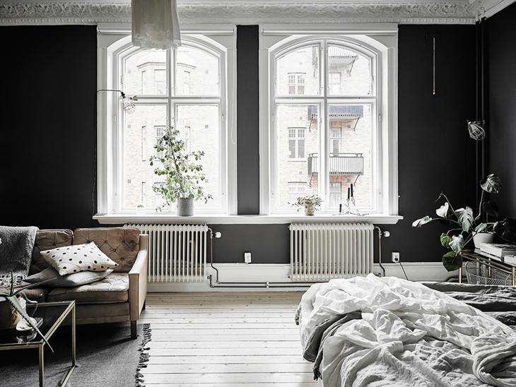 经典北欧风客厅 拱形窗户效果图