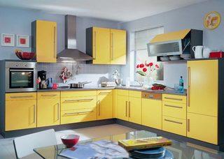 黄色系厨房装修效果图