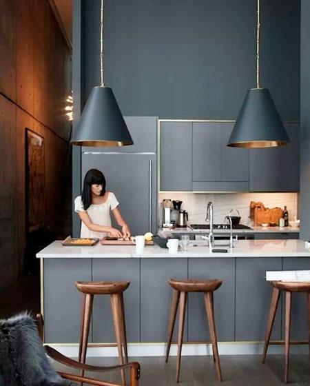 经典灰色厨房装修效果图