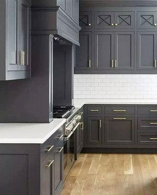厨房灰色整体橱柜图片