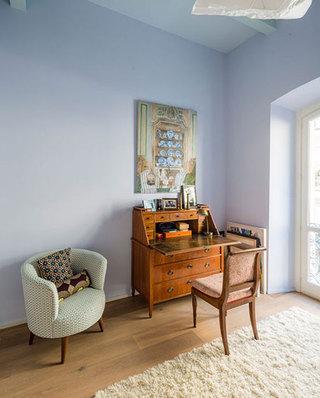 清新紫色混搭风 休闲室背景墙设计
