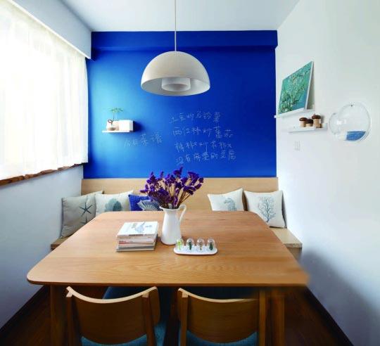 蓝色系餐厅装修装饰效果图