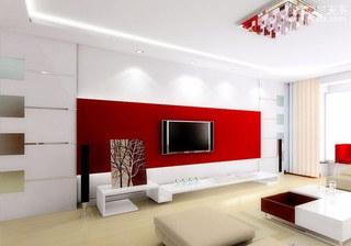 红色客厅电视背景墙设计