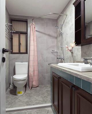 120平美式风格三居卫生间设计