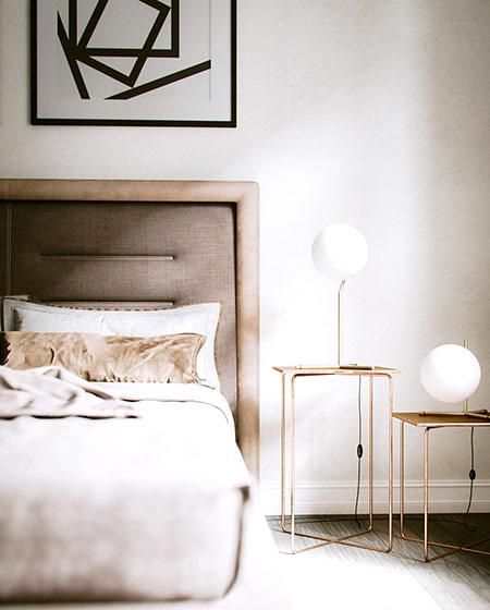 北欧风格单身公寓床头软包设计