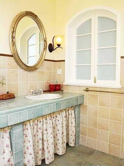 卫生间砖砌洗手池设计实景图