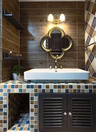 卫生间砖砌洗手池布置摆放图