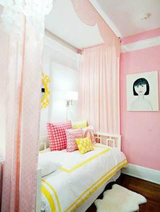 粉色系儿童房设计实景图