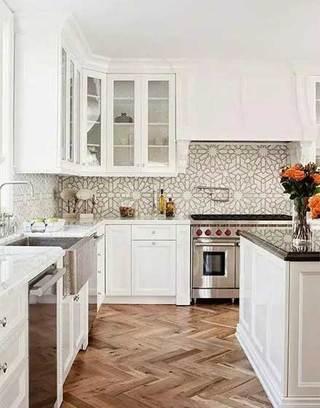 木色系厨房平面图