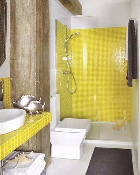 小户型卫生间黄色瓷砖图片
